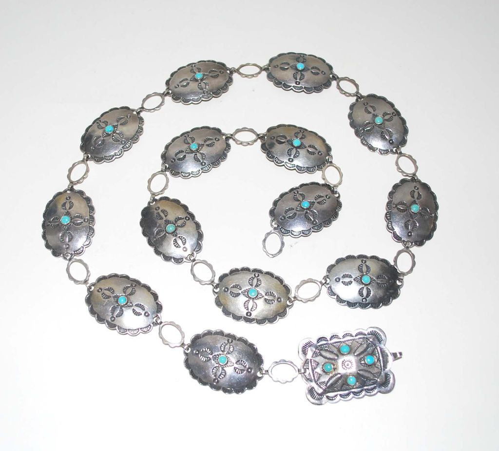 Navaho Indian Sterling Silver Belt, with Turquoise, Vintage