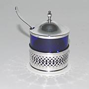 Mustard Pot, Cobalt Liner, Sterling Silver Holder & Cover, Webster Co., Vintage