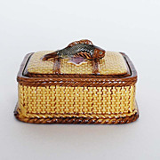 Antique Majolica Sardine Box with Cover