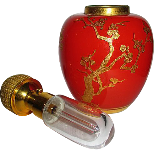 Gorgeous  DeVilbiss Chinese Red & Gold Ginger Jar Atomizer