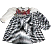 """PRISTINE Colorful Smocked Cotton Dress for 24-26"""" Doll"""