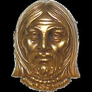 Vintage Joseff of Hollywood Gilt Finished Face Brooch