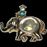 Coro 1950 Adolph Katz Elephant & Raj Jelly Belly Pin--RARE