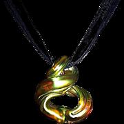 Charles Lotton Gold Iridescent Silka Art Glass Necklace Pendant