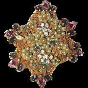 Original by Robert Pink, Purple Rhinestone & Seed Pearl Brooch