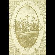 Rare Antique German Baptismal Box w Dresden Envelope & Certificate