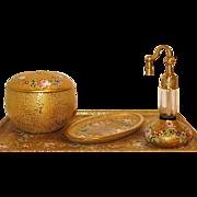 DeVilbiss Rotten Gold Enameled Roses Vanity Set