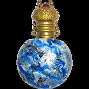 1860's Italian Blue Silver Adventurine Glass Scent Bottle