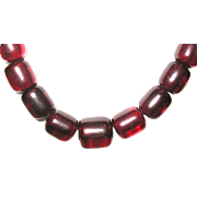 Vintage Translucent Cherry Amber Barrel Shape Beaded Necklace--80 grams