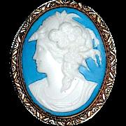 Stunning Czech Glass Cameo Brooch — Goddess Flora