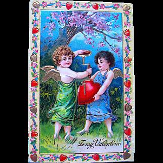 SALE Exceptional German GEL Valentine Postcard Series 210—Cupids Inflating Heart (1 of 2)