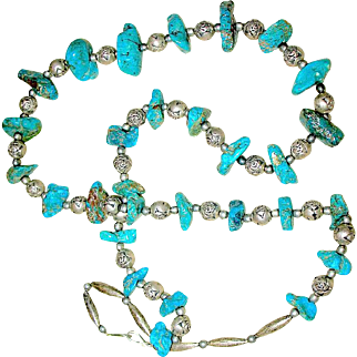 60's Southwest Turquoise Nugget and Engraved Sterling Silver Bead Necklace