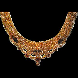 SALE Amazing 60's Hattie Carnegie Signed Smoke Amethyst Perfect Rhinestone Bib Necklace