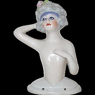Stunning Large German Art Deco Half Doll--PRISTINE