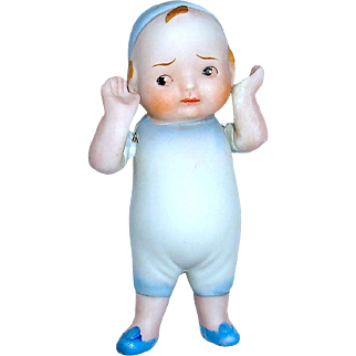 HTF Adorable German All Bisque Character Figure, c. 1920-1930