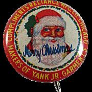 Tin Litho 'Yank Jr. Garments' Santa Pinback