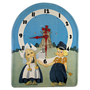 Tin Lithograph Dutch Children Electric Wall Clock