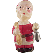 Made in Occupied Japan Celluloid Windup Santa with Bell Works