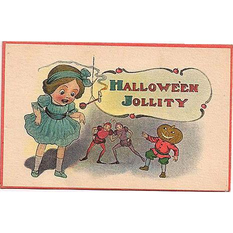Halloween 'Jollity' Postcard Girl with JOL Man and Fairies
