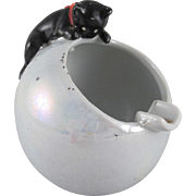 Made in Japan Ceramic Lustre Ball Ash Tray with a Black Cat