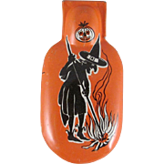 Tin Litho  Witch Stoking a Fire Clicker Works U.S.A.