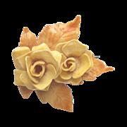 Vintage Hard Plastic Yellow Flower Hair Barrette