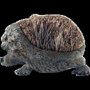 Early Figural Cast Metal Hedgehog Brush