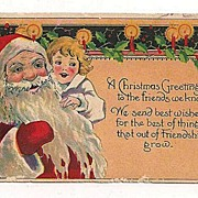 'A Christmas Greeting' Santa & Child Postcard Not Used