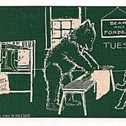 Tuesday Bears Ironing Postcard 1907-1908