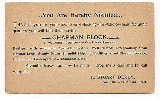 'Chapman Block' 1898 Chicago Advertising Postcard