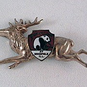 Brass Plated Deer or Reindeer Souvenir Pin with Enamel Shield Brookfield Zoo, Chicago