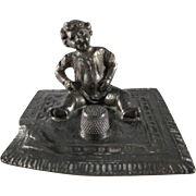 Made in Austria Baby Sits on a Blanket Metal Thimble Holder