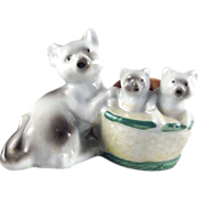 Japan Bisque Mommy Cat with Kittens in a Basket Pincushion