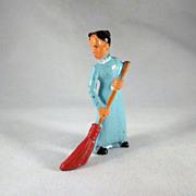 Manoil Lady with Broom Metal Figure
