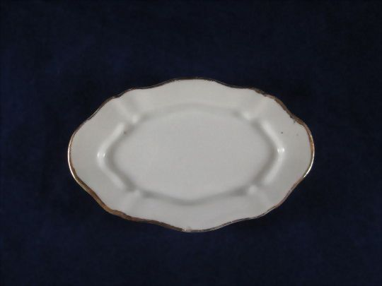 Oval China Platter with Scalloped Metallic Gold Edges Dollhouse Accessory