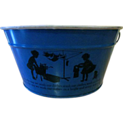 Child's Tin Toy Wash Tub with a Silhouette of Girls Doing Laundry