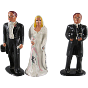 Barclay Cast Metal Bride, Groom and Minister 3 Piece Cake Topper Figures