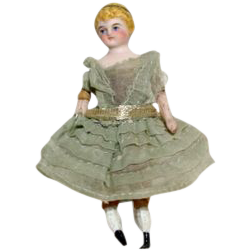 "German Bisque Shoulder Head Doll  4 1/2"""