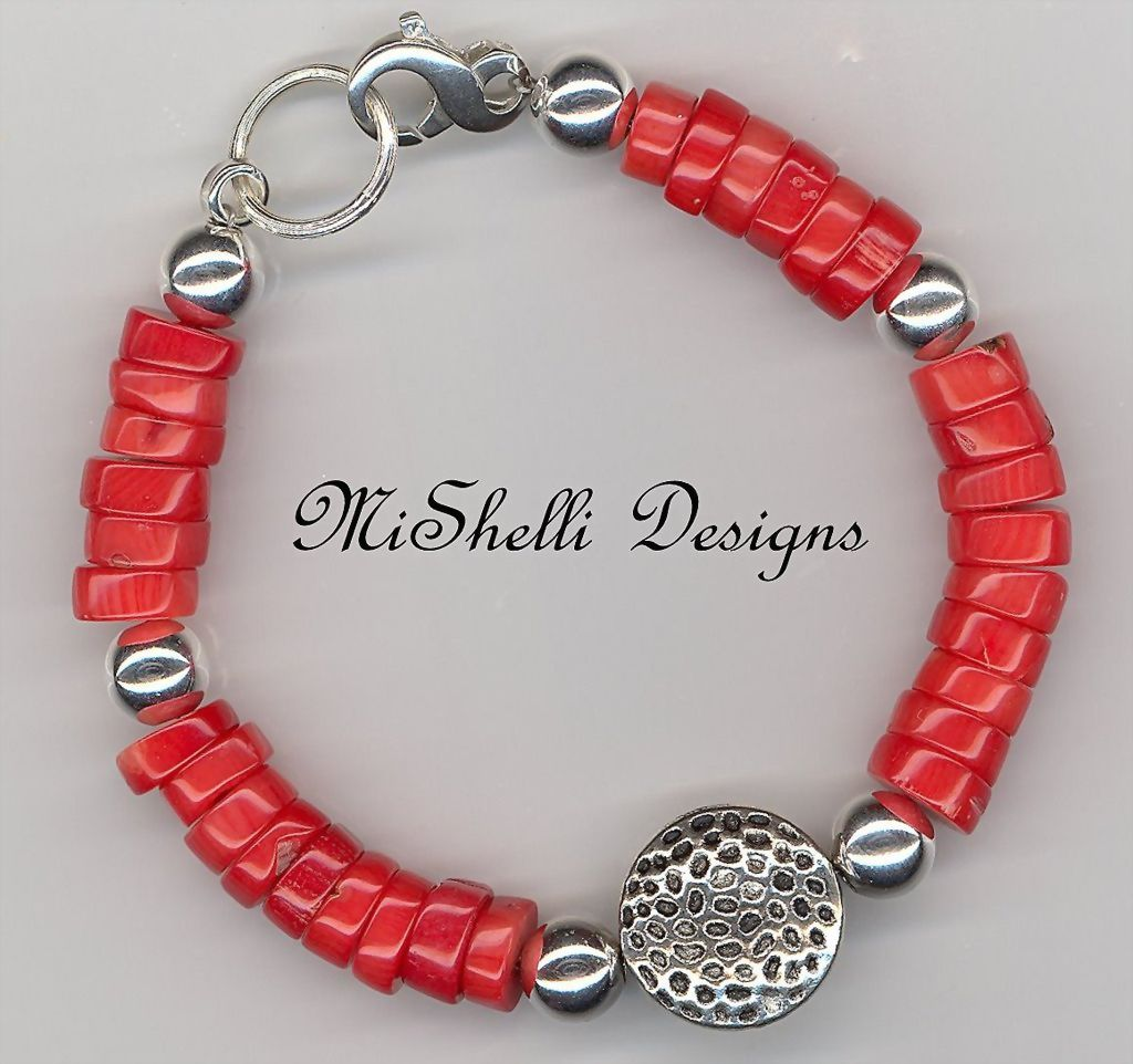 Chunky Coral Sterling Balinese Bracelet
