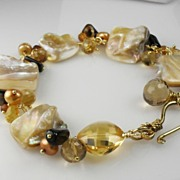 Creamy Mother of Pearl Citrine Hessonite Quartz Vermeil Bracelet