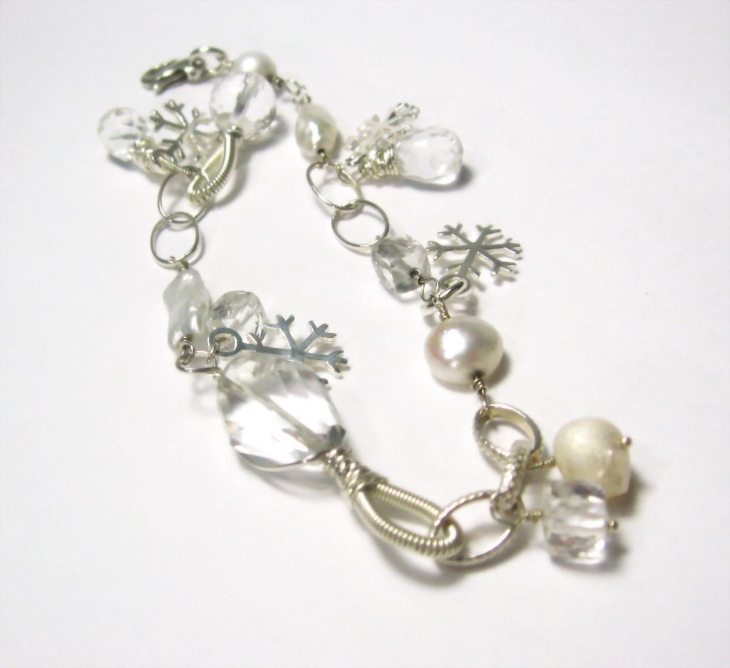 Snowflake and Icicles Collection Quartz Gemstone Pearl Sterling Snowflake Charm Bracelet