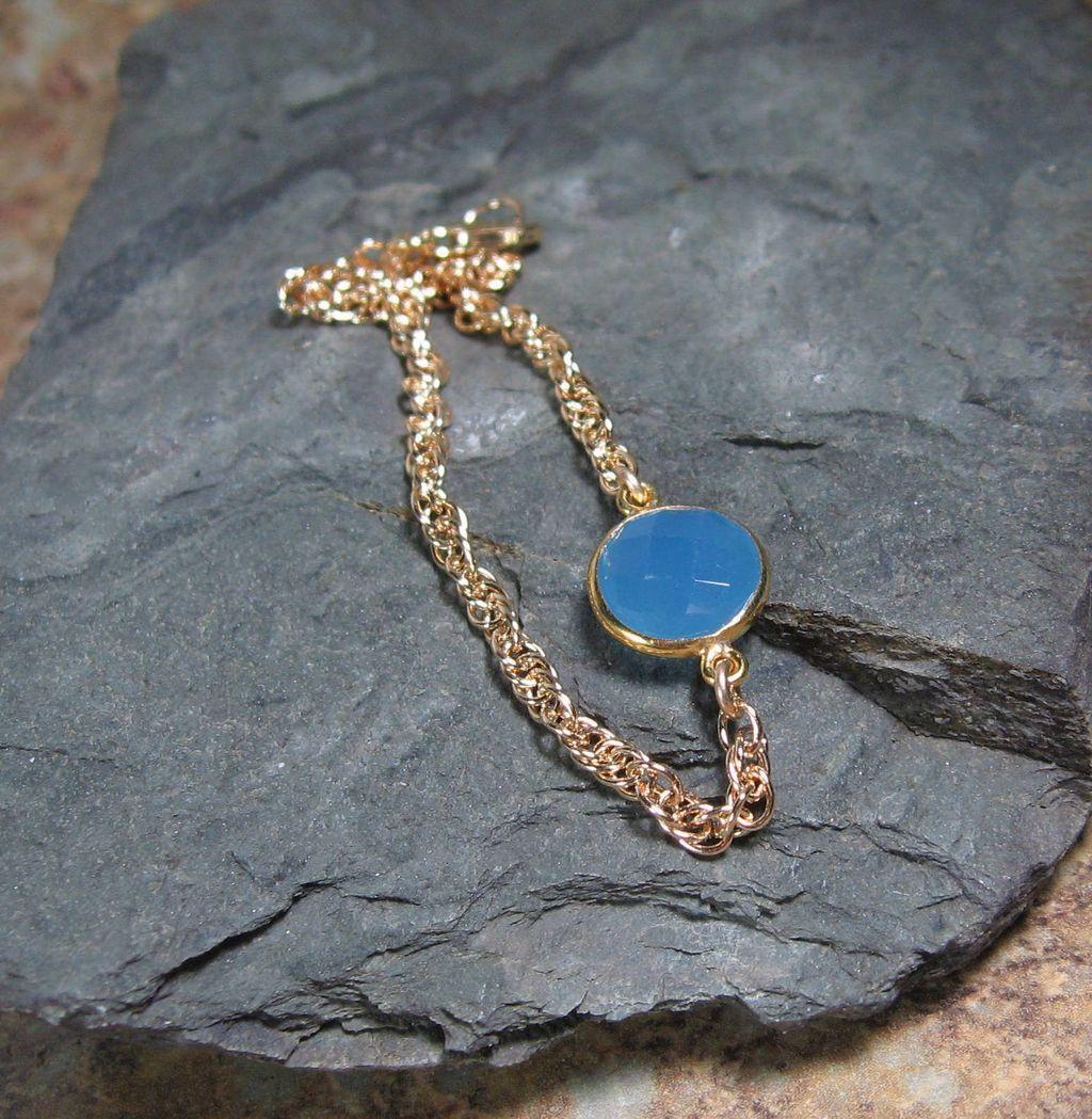 Sky Blue Chalcedony Gemstone Gold Bracelet