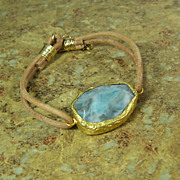 Gold Dipped Blue Gemstone Leather Bracelet - Leather Collection