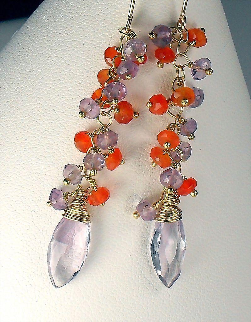 Amethyst Carnelian Gemstone Vermeil Dangle Earrings
