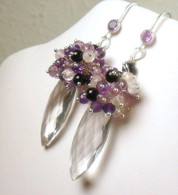 Purple and Light Amethyst Quartz Crystal Onyx Sterling Cluster Earrings