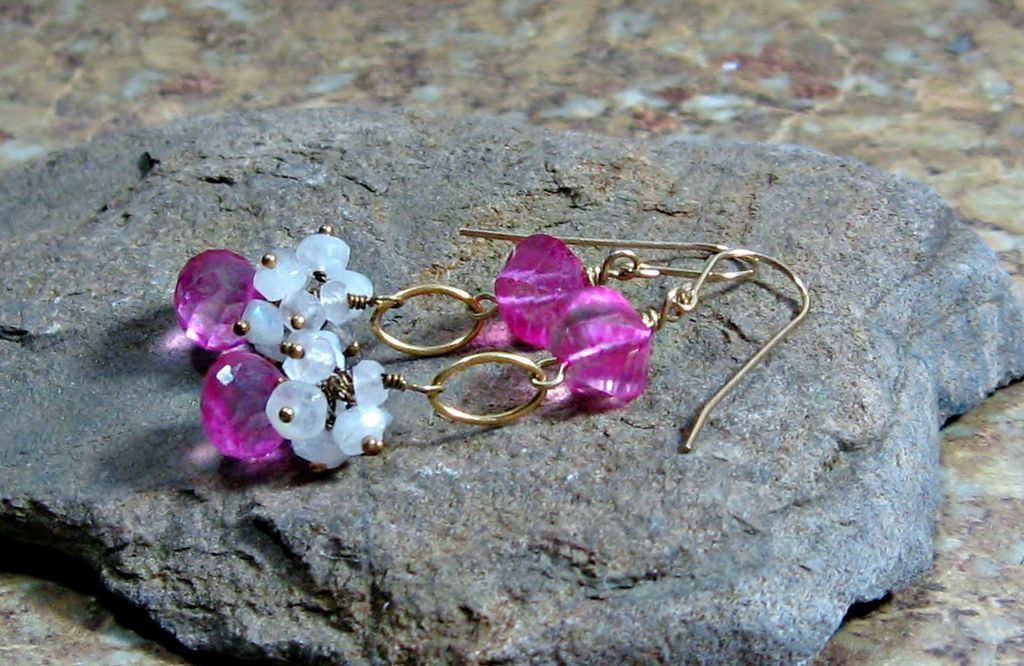 WINTER CLEARANCE Pink Quartz Rainbow Moonstone Gold Filled Dangle Earrings