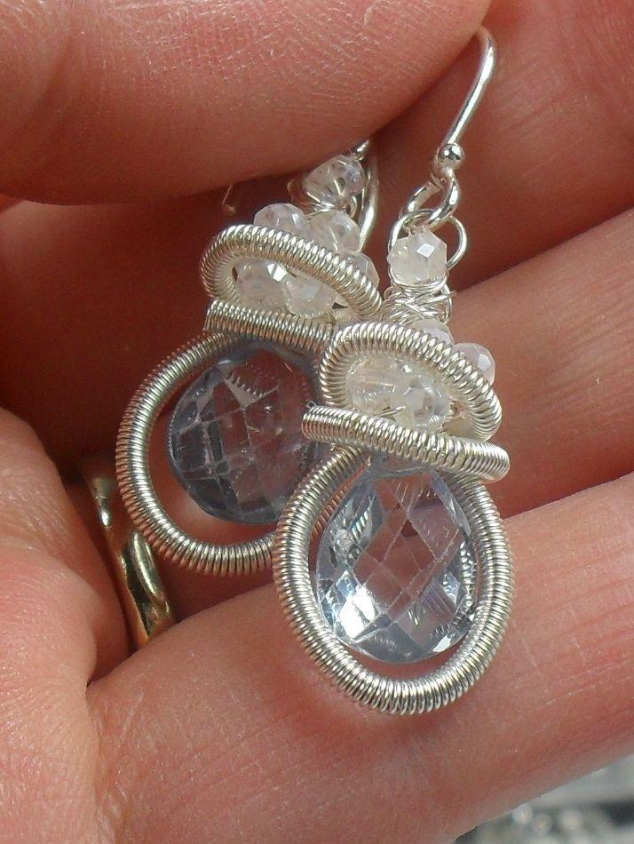 Blue Quartz Gemstone Sterling Coiled Earrings