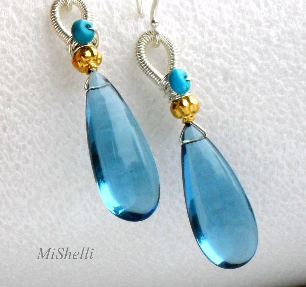 London Blue Quartz 18K Gold Turquoise Sterling Coiled Earrings