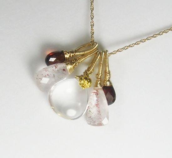 Lepidocrosite Quartz Garnet Gemstone 18K Gold Filled Necklace
