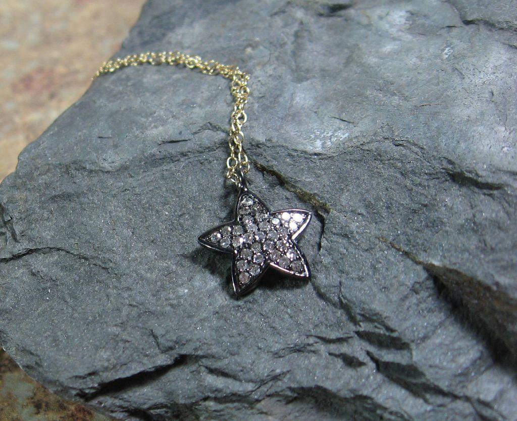 Pave Diamond Star Pendant Sterling Silver